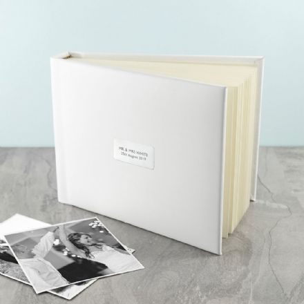 Personalised White Leather Photo Album - Small
